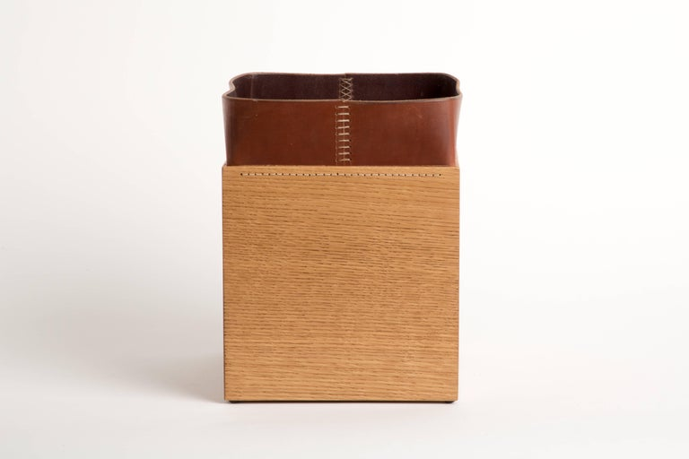 Handmade Leather and Oak Trash Can, Erik Gustafson In Excellent Condition For Sale In New York, NY