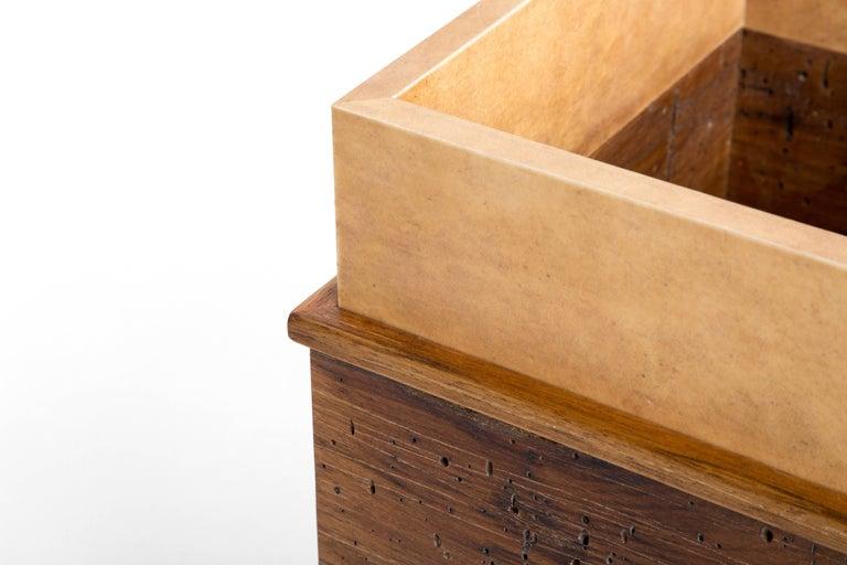 Hand-Carved Calf Skin and Wormy Butternut Trash Can, Erik Gustafson