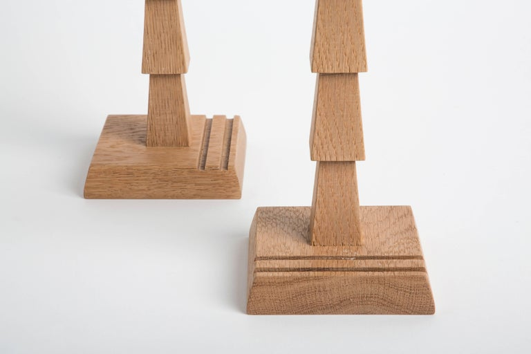 Pair of White Oak Candlesticks, Erik Gustafson 3