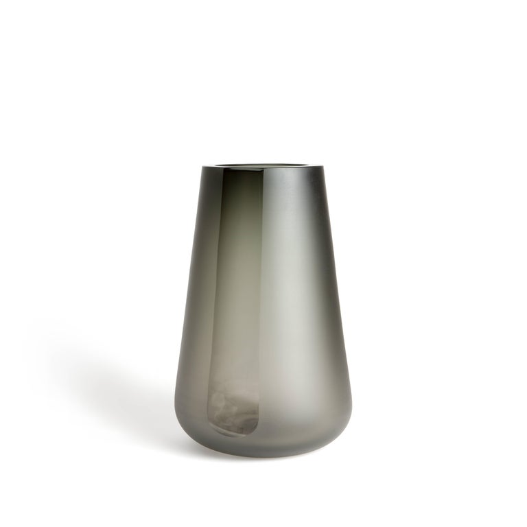 American Handblown Smoke Grey Glass Porto Vase Extra Large, ANDREW HUGHES For Sale