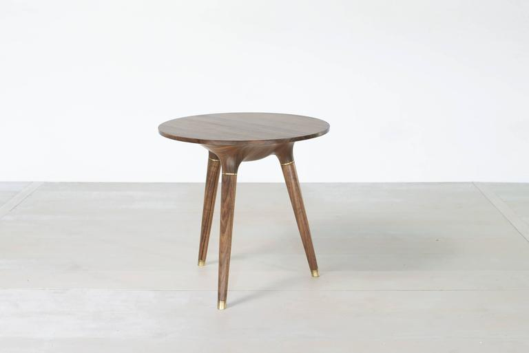 Organic Modern Contemporary Side, End or Occasional Table in Carved Walnut with Brass accents For Sale