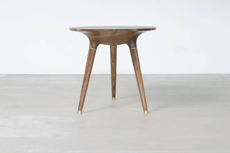 American Contemporary Side, End or Occasional Table in Carved Walnut with Brass accents For Sale