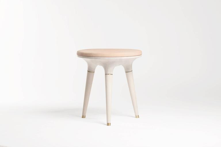 American Contemporary Stool in Carved Maple, Brass and Leather For Sale