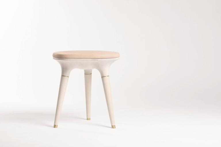 Bleached Contemporary Stool in Carved Maple, Brass and Leather For Sale