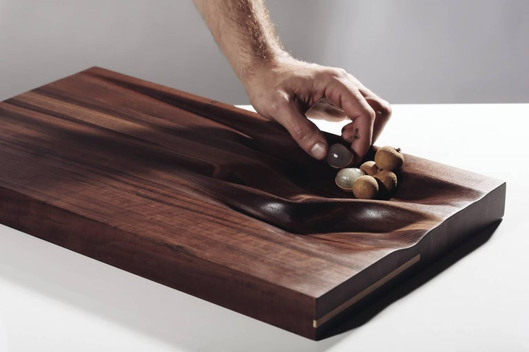 Contemporary Carved Walnut Cutting Board With Brass Accent