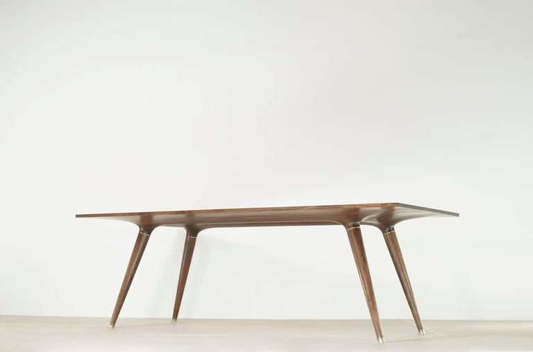 Organic Modern Contemporary Dining Table in Carved Walnut with Brass Accents For Sale
