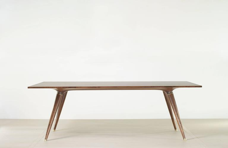 American Contemporary Dining Table in Carved Walnut with Brass Accents For Sale