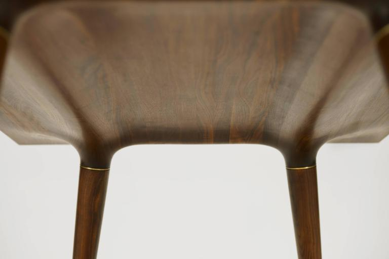Contemporary Dining Table in Carved Walnut with Brass Accents In New Condition For Sale In Los Angeles, CA