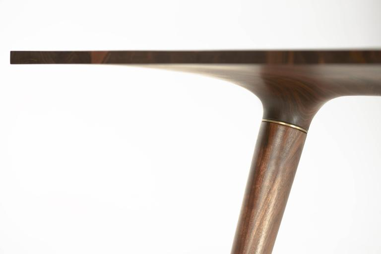 Contemporary Dining Table in Carved Walnut with Brass Accents For Sale 1