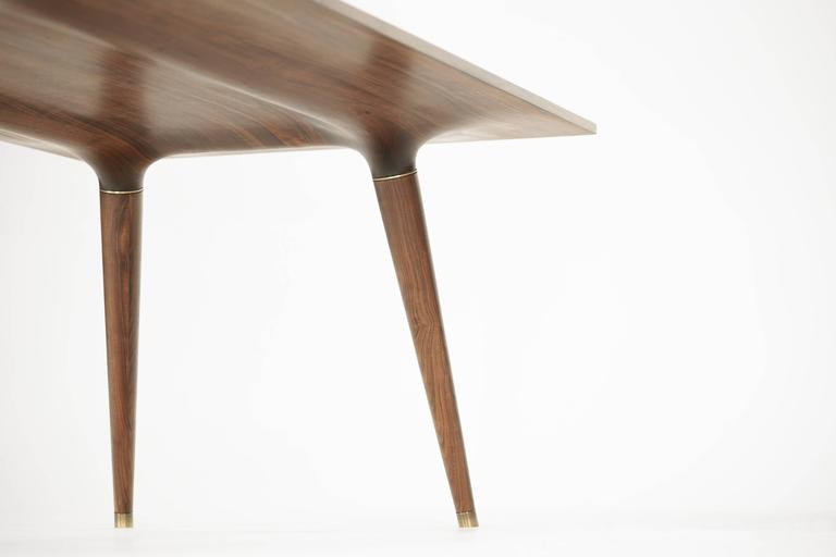 Contemporary Dining Table in Carved Walnut with Brass Accents For Sale 2
