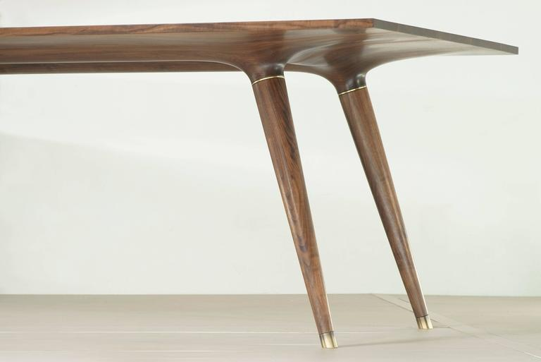 Contemporary Dining Table in Carved Walnut with Brass Accents For Sale 3