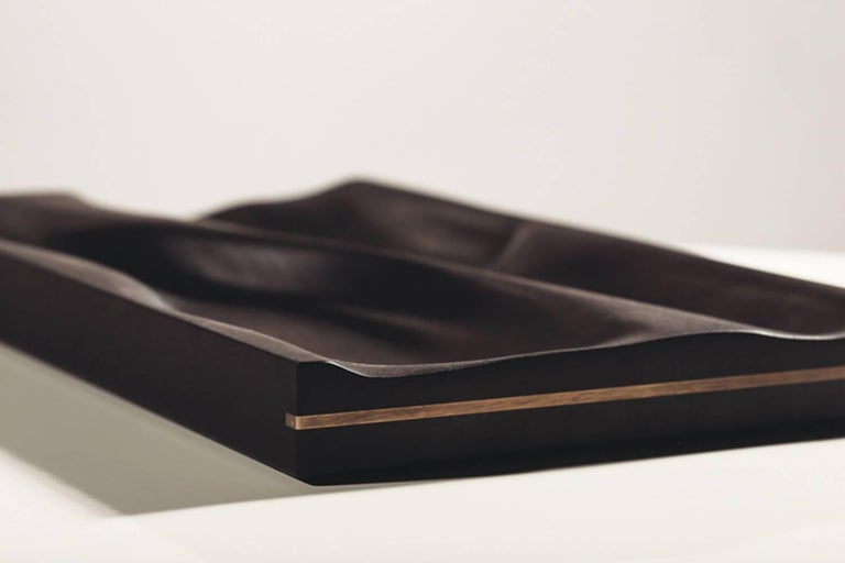 Contemporary ebonized tray by Vincent Pocsik  Carved walnut tray with ebonized finish.  Natural food safe oil and wax finish.  Vincent Pocsik finds the balance between old and new fabrication techniques working in conjunction to find an