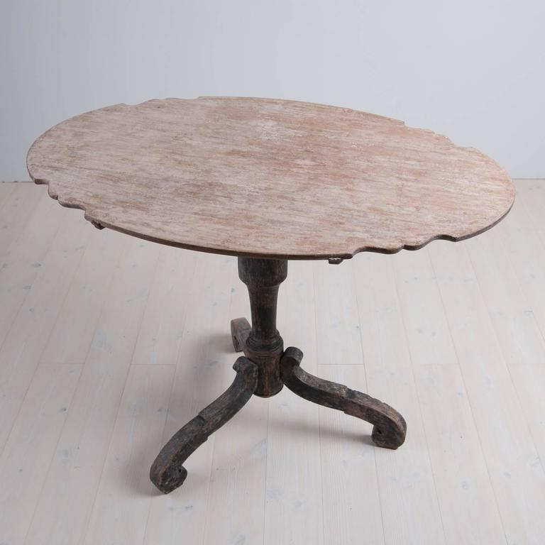 18th Century Swedish Period Baroque Tilt-Top Table with Original Paint 4