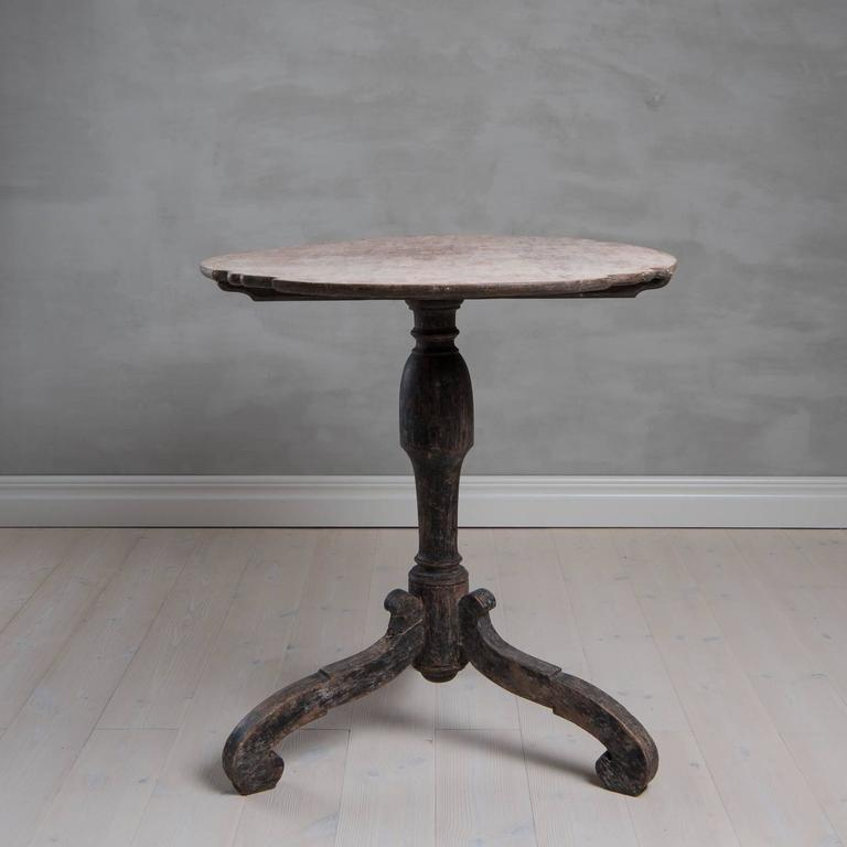 18th Century Swedish Period Baroque Tilt-Top Table with Original Paint 5