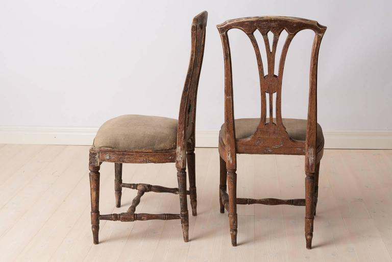 Pair of Late 1700s Swedish Gustavian Chairs In Good Condition For Sale In Kramfors, SE