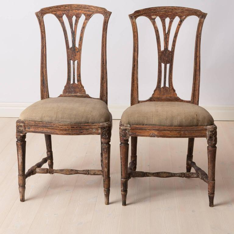Hand-Crafted Pair of Late 1700s Swedish Gustavian Chairs For Sale