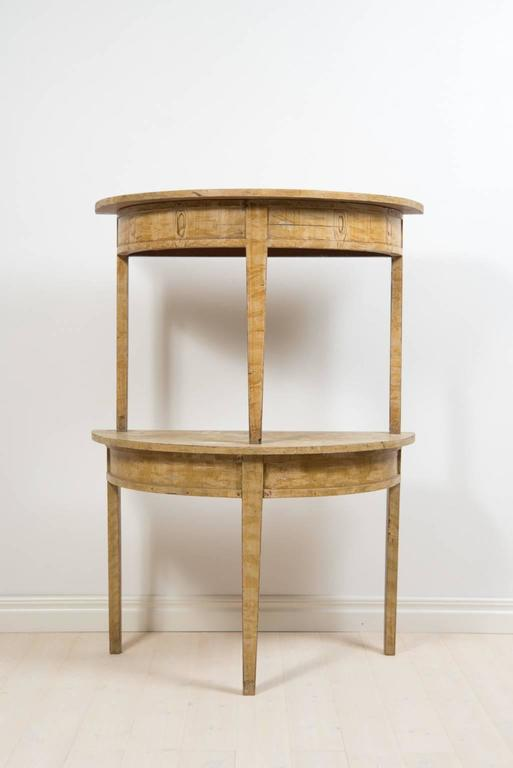 Demilune table in 2 half moons. Straight, tapered legs. Original paint from the 1840s -yellow birch imitation painted, Sweden, circa 1840.