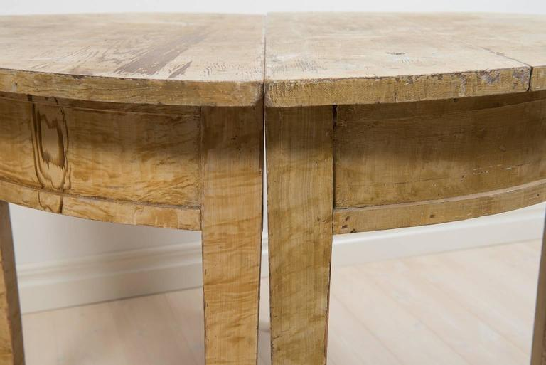 Painted Pair of 19th Century Demilune Table For Sale