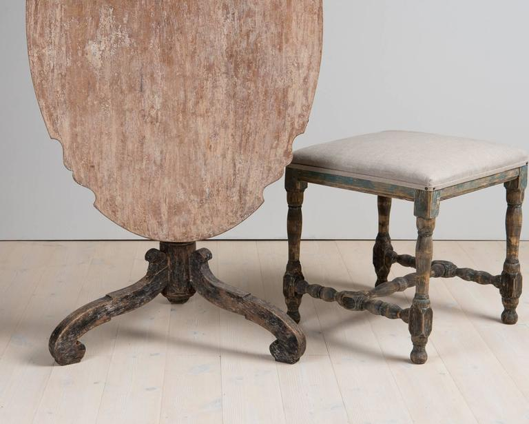 18th Century Swedish Period Baroque Tilt-Top Table with Original Paint 9