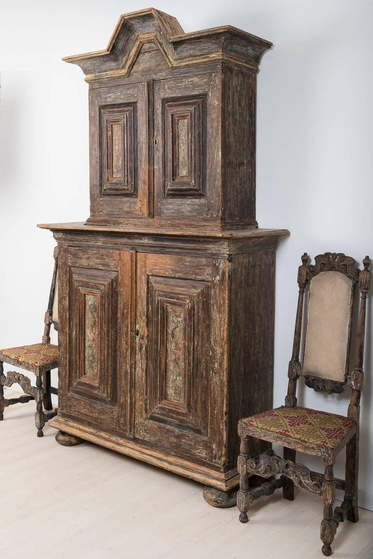 Painted 18th Century Swedish Baroque Cupboard For Sale