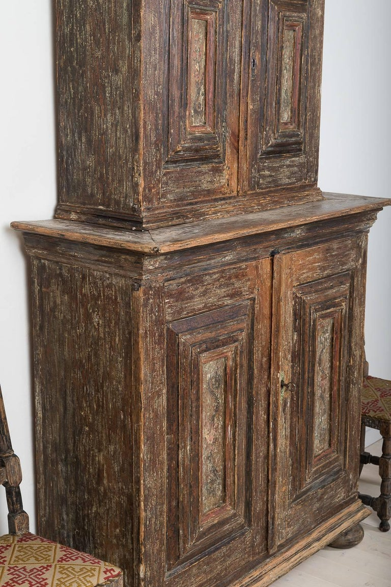 Pine 18th Century Swedish Baroque Cupboard For Sale