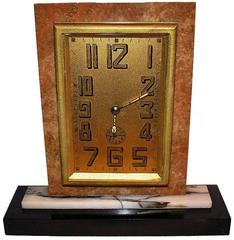Large French Art Deco Solid Marble Clock
