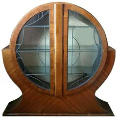 1930s English Art Deco Circular Display Cabinet in Walnut