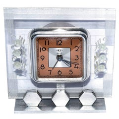 1930s French Art Deco Acrylic Clock by Dep
