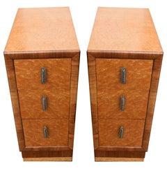 English Art Deco Birds Eye Maple Blonde Bedside Cabinets