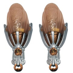 Matching Pair of Art Deco Lincoln Wall Light Sconces