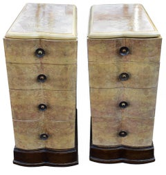 Matching Pair of Bleached Blonde Walnut Bedside Cabinet Tables