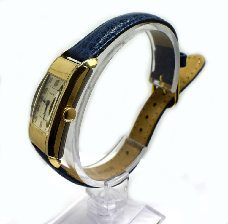 20th Century Superb Art Deco Gents Gold Plated Wrist Watch by Elgin Dated 1937 For Sale