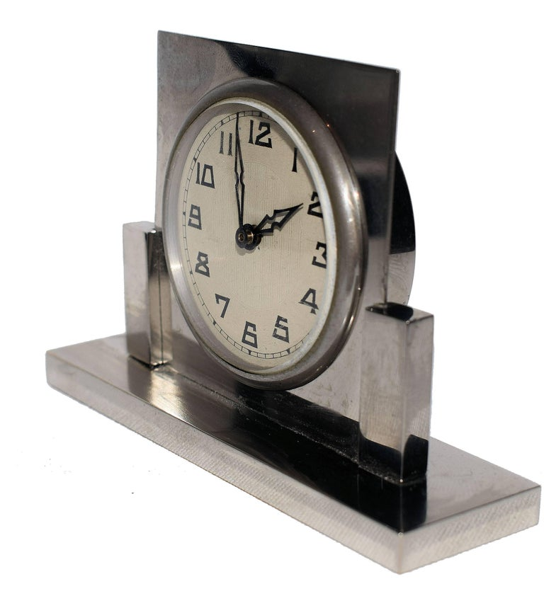 French 1930s Art Deco Miniature Chrome Clock For Sale at 1stdibs