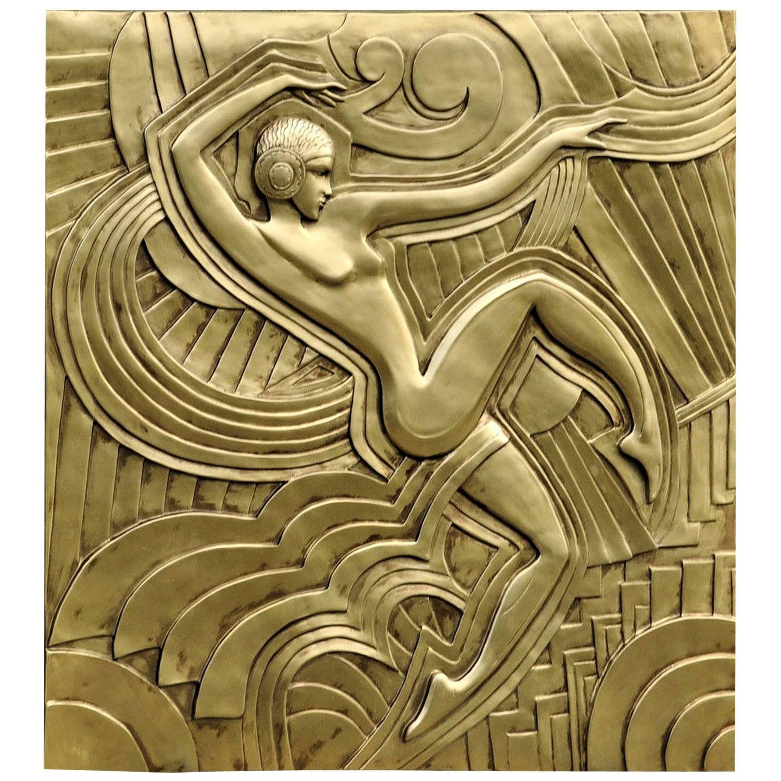 Art Deco u0027Folies Bergeresu0027 Wall Plaque  sc 1 st  1stDibs & Important Art Deco Mythological Gilt Wall Plaque For Sale at 1stdibs