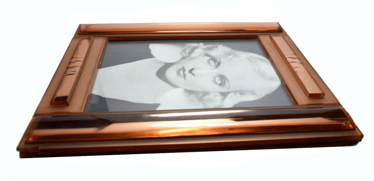 Huge Art Deco Peach Mirrored Bevelled Glass Picture Frame Circa