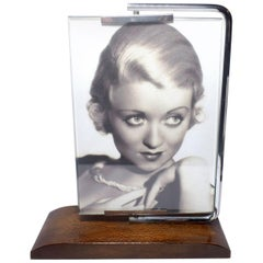 1930s Art Deco Swivel Chrome and Wood Picture Frame