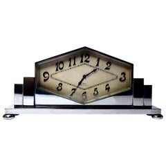Art Deco 8 Day Swiss Chrome Cased Clock