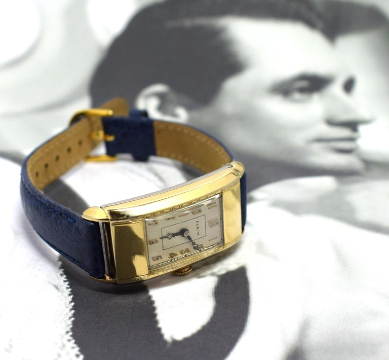 Superb Art Deco Gents Gold Plated Wrist Watch by Elgin Dated 1937 For Sale 4