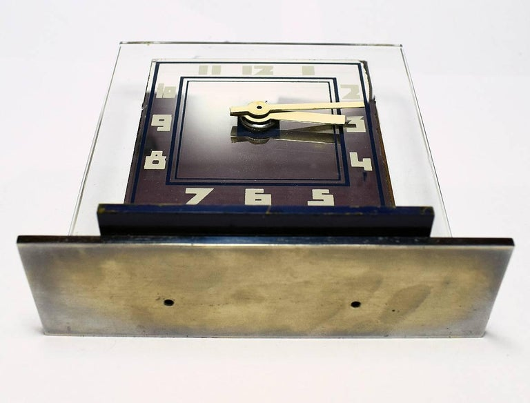 French Rare 1930s Art Deco Modernist Alarm Clock by ATO For Sale