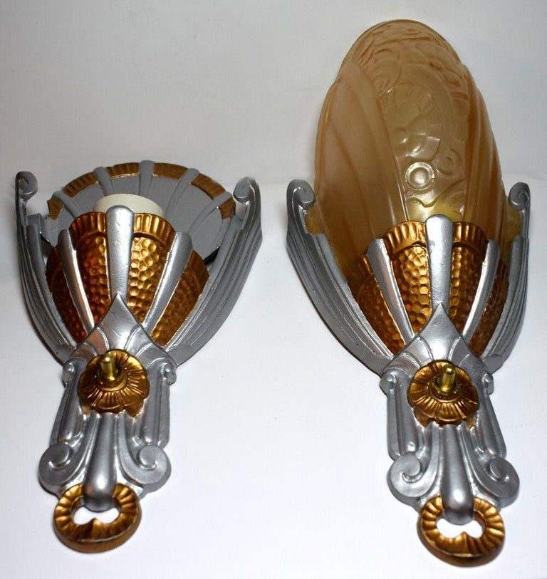 Matching Pair of Art Deco Lincoln Wall Light Sconces For Sale 3