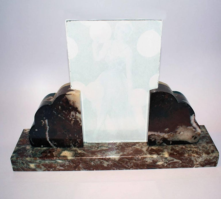 French Art Deco Fan Shaped Marble Picture Frame, circa 1930 For Sale