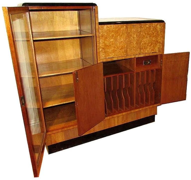 Very impressive 1930s art deco blonde burr walnut secretaire large glass full height door to