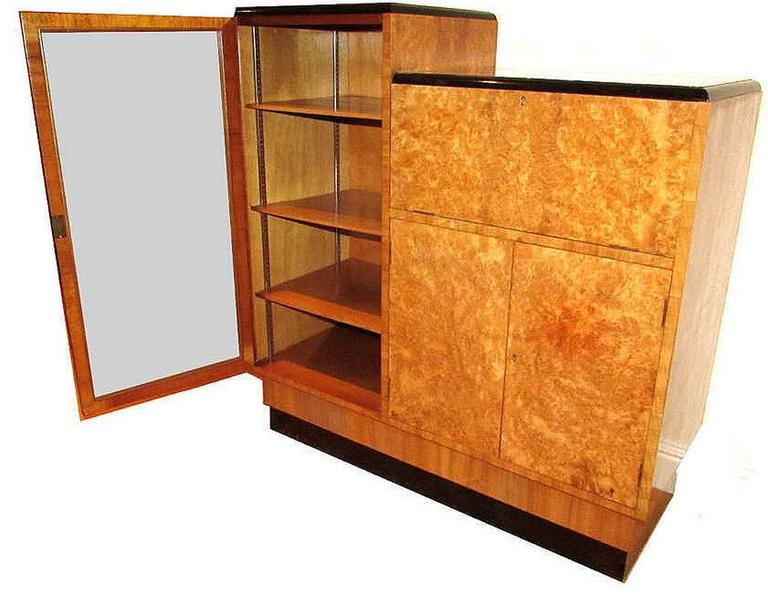 Original english 1930s art deco blonde wood bureau in excellent condition for sale in devon
