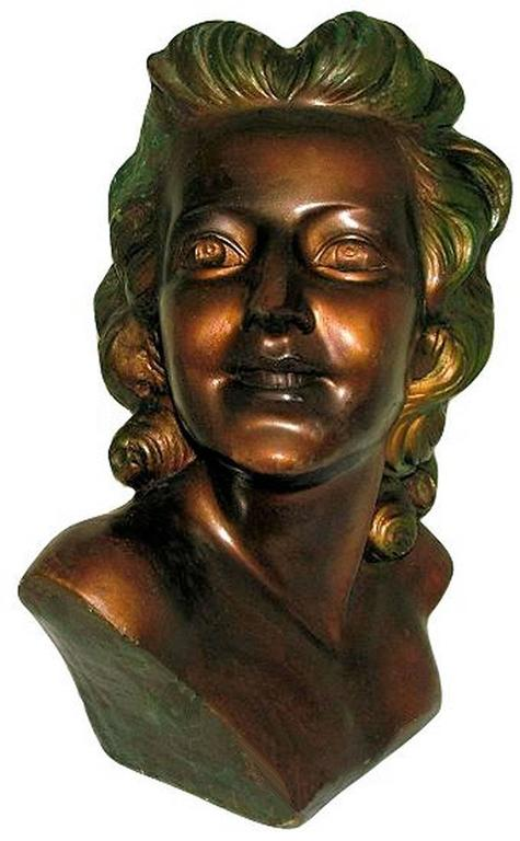 Cold-Painted Beautiful Art Deco, French Bust of a Young Woman For Sale