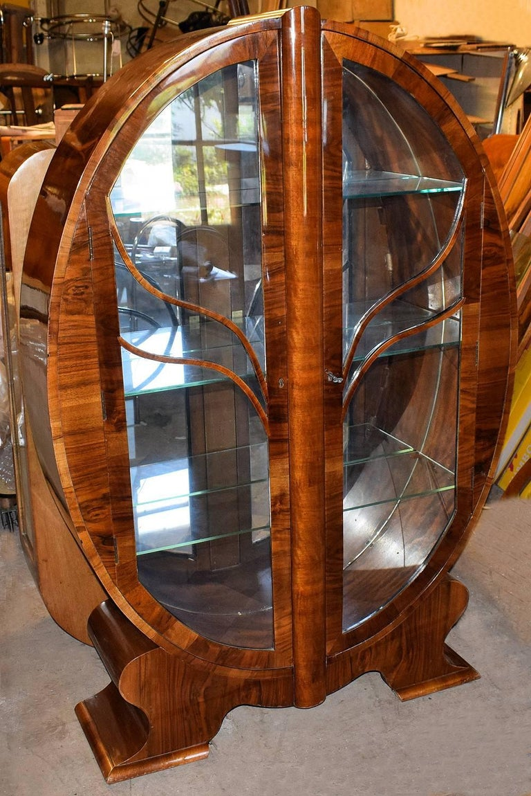 Great Britain (UK) Original Art Deco English Walnut Oval Display Cabinet For Sale
