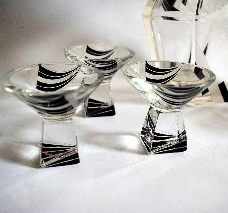 Enameled Art Deco Crystal Czech Decanter Set