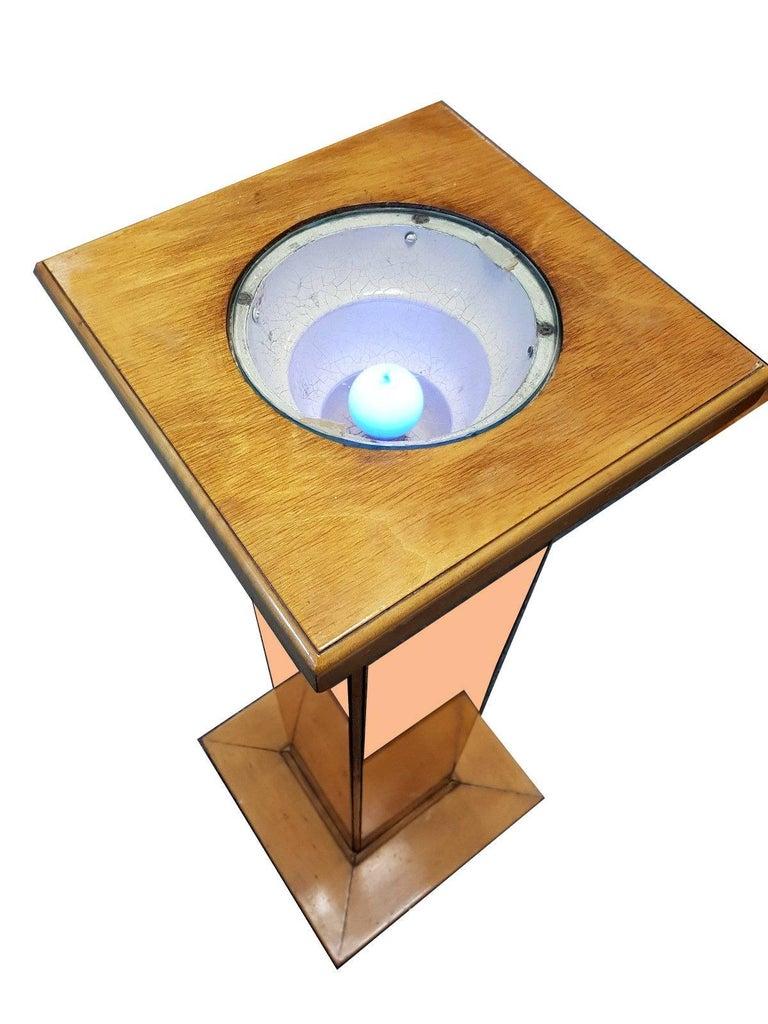 Glamorous And Rare English Art Deco Pink Mirror Floor Lamp
