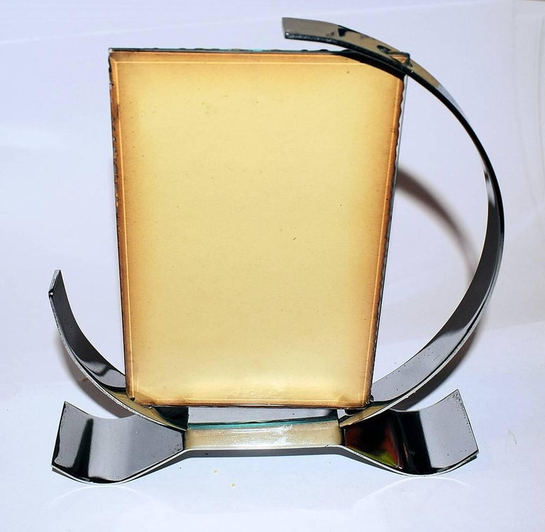 Circular Art Deco Chrome Plated Metal Picture Frame At 1stdibs