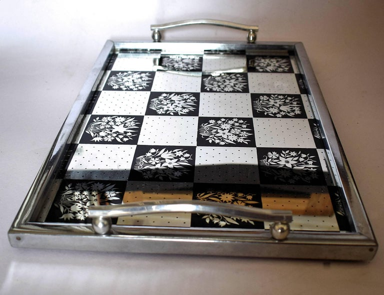 English Art Deco Mirrored Drinks Tray In Excellent Condition For Sale In Devon, England