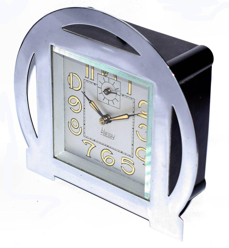 One of our personal favourite style of Art Deco clocks are these Blangy French table clocks. The stylized numerals for any Art Deco enthusiast are an absolute delight. Superb 1930s Art Deco clock by the French clock company Blangy. All chrome case